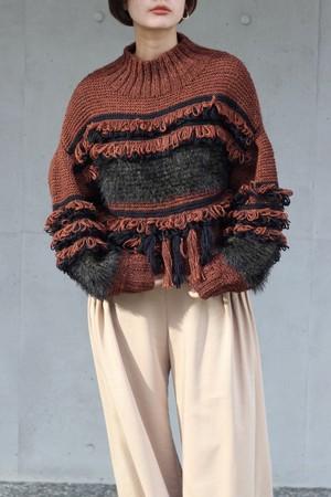 【 EBONY】fringe hand knit-orange×khaki