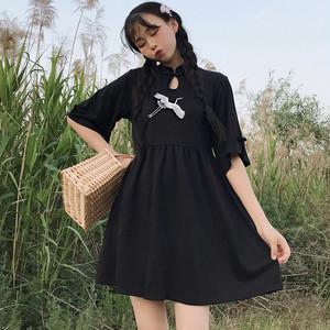 【ワンピース】無地半袖コットンAライン中国系ブラックワンピース