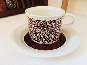 ARABIA /アラビア Faenza/ファエンツァ  コーヒーカップ&ソーサー ブラウン