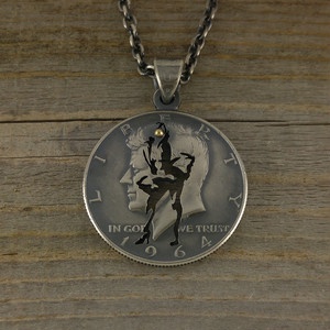 【受注生産】JOHN F.KENNEDY×MARILYN MONROE CUTCOIN PENDANT 50¢(BLOWING DRESS)【KENNEDY HALF DOLLAR】