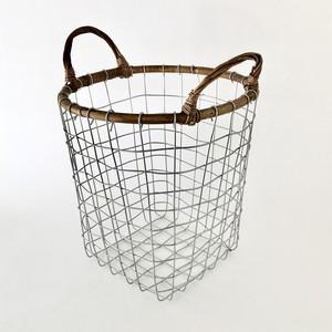 ラタントップ ワイヤーバスケット M Rattan Top Wire Basket Medium(PUEBCO)