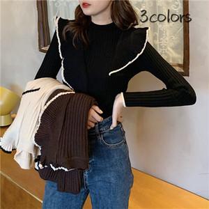 ✩即納商品✩【トップス】ファッションフリル配色着やせ見えニットセーター