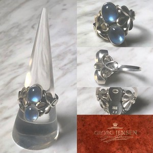 """GEORG JENSEN silver ring set with 2 moonstones """"48"""""""