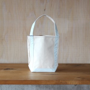 "BAGUETTE TOTE MINI ""NATURAL/ AQUA"""