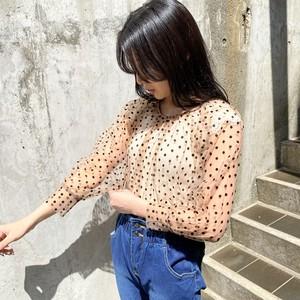 dot see-through blouse[2103-36]