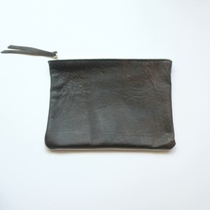 pouch L 40s european vintage leather jacket × vintage linen
