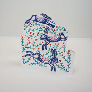 Three Layered Folding Card - Lepus Timidus Envelope: Silver Textured