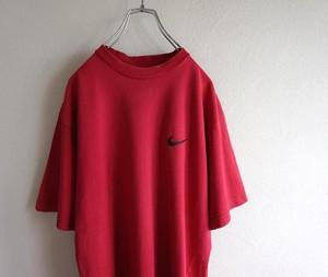 1990's [NIKE] ワンポイントSWOOSH刺繍Tシャツ ヘヴィーウェイト ディープレッド 表記(L) ナイキ