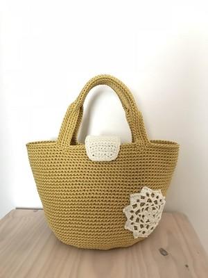 手編みバッグ マグネットトート 黄色 マスタード モチーフ付き