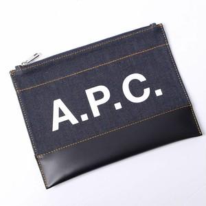 A.P.C. (アー・ペー・セー) クラッチバッグ AXEL ポーチ デニム ロゴ ダークネイビー[国内送料無料] r014397