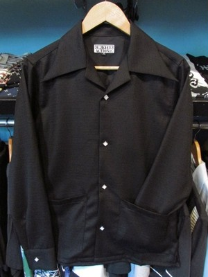 L/S40'sエリ&フロント2ポケットシャツ ブラック/織りボーダー