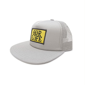 OUR LIFE - STACKED BARREL PATCH MESH CAP (Silver)