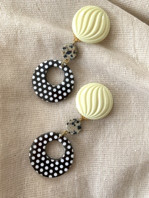 cream yellow × dot  ring ❤︎