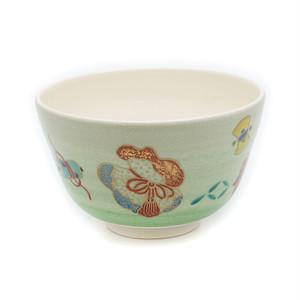 橋本紫雲 緑釉宝尽し茶碗
