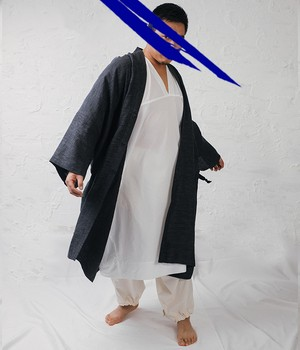 JAN JAN VAN ESSCHE - Wide fit kimono style coat with ainu inspired collar WASHI/LINEN TWILL - COAT#19