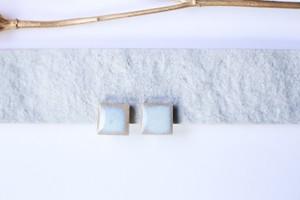 015伝統文化美濃焼多治見四角タイルピアス(イヤリング) ブルーシリーズ