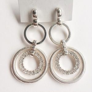 silver & rhinestone circle pierce[p-517]