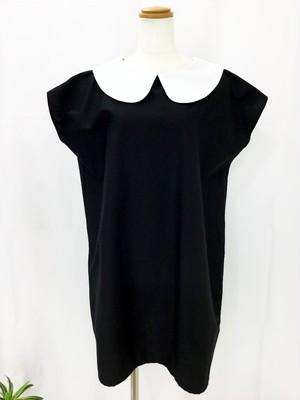 きちんとした可愛さとTシャツ感覚の気軽さが共存する 長方形デザインのフレンチ袖白襟リトルブラックドレス。一点もの コットン100% 快適 オールシーズン 万能 丸襟ワンピース ミニ 通勤 通学