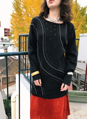 Vintage black × beads knit tops (ヴィンテージ ブラック ビーズ ニット トップス)