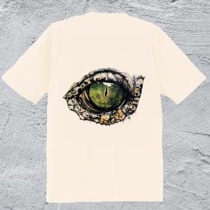 Alligator-eye Tシャツ/ナチュラル*メンズ【色鉛筆手描きデザイン】高級綿糸使用で着心地抜群、長持ちの高性能Tシャツ