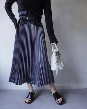 08sircus / drape satin pleated skirt