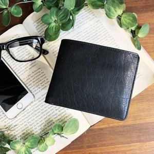 【水牛革】ムラ染め2つ折り財布<BLACK>  本革 レザーウォレット メンズ 折り畳み コンパクト W6237