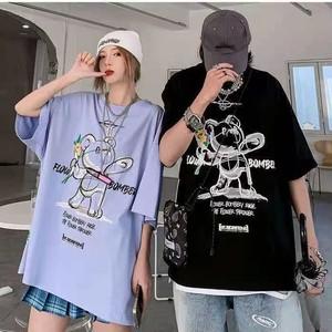 【トップス】男女兼用ストリートファッション韓国系クマ図柄プリント半袖Tシャツ43012412