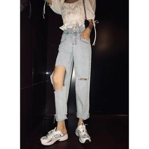 high waist damage light pants