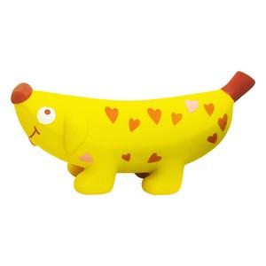 バナナドッグ ハート スクィーカー付きオモチャ