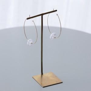 JEPUN broken crystal hoop pierced earrings