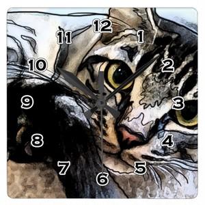 猫の凝視の正方形の時計 スクエア壁時計