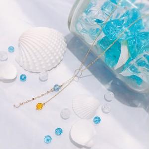 【CORALIA】ビーチ 012 ネックレス 白珊瑚 スイスブルートパーズ バルティックアンバー K10