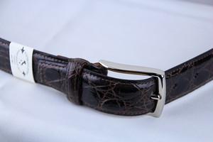 Giorgio Zoni Crocodile Leather Belt -Dark Brown ジョルジオ・ゾーニ レザーベルト
