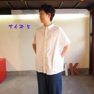 白いピッケ ワイドフレンチ半袖シャツ 12S07B サイズ5