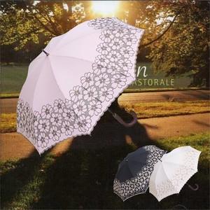 傘 日傘 レディース 手開き パラソル エンブロイダリー フラワーボーダー刺繍 UVカット