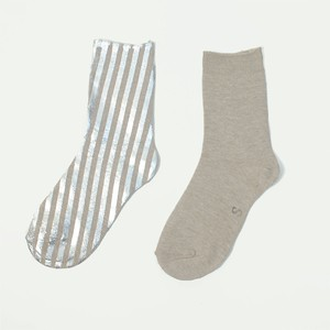 METAL SOX (STRIPE) MIX BEIGE X SILVER