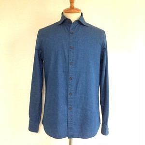 Light OZ Denim Horizontal Wide Collar Shirts Light Indigo
