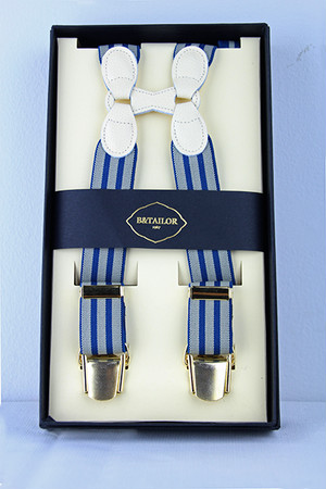 B&Tailor Stripe Suspender -Blue/White サスペンダー