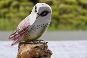 細かく手描きをした木彫りの鳥 フクロウ