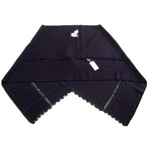 和装 ショール 正絹 絹 三つ紋 刺繍入りショール 黒地 瓢箪 絞りに独楽柄 コマ 和風 和装 洋装兼用 [280001]
