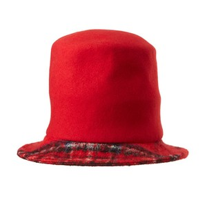 CHECK CRUMPLED HAT/red