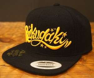 RAKUGAKI 2017 Melton Wool Main Logo SnapBack Cap Black x Yellow Gold