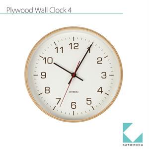 KATOMOKU plywood wall clock 4 km-44NRC 電波時計