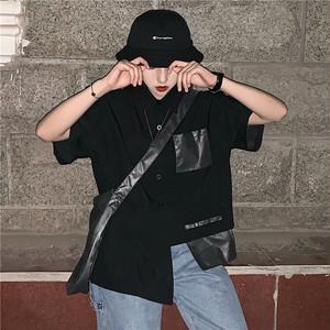 【トップス】不規則個性的ストリート系無地半袖シャツ27411527