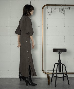 KNIT PLEATED SKIRT SET-UP (BROWN)