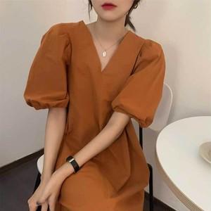 パフスリーブ ワンピース   ミニワンピース ミニスカート 韓国服