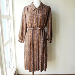 vintage dress / retro brown