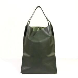 軽くて薄い牛革のバッグ L BAG GR(緑)