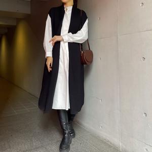 ロング丈ベストニット | ジレ ホワイト レイヤード ロング丈 きれいめ シャツワンピース