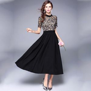 レース 刺繍 ドレス Aライン ミモレ丈 半袖 ハイネック フレアスカート 花柄 パーティ お呼ばれ 二次会 フォーマル